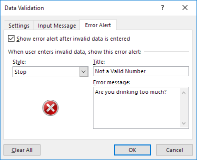 Enter Error Message in excel