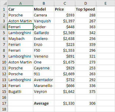 First Occurrence in Excel sheet