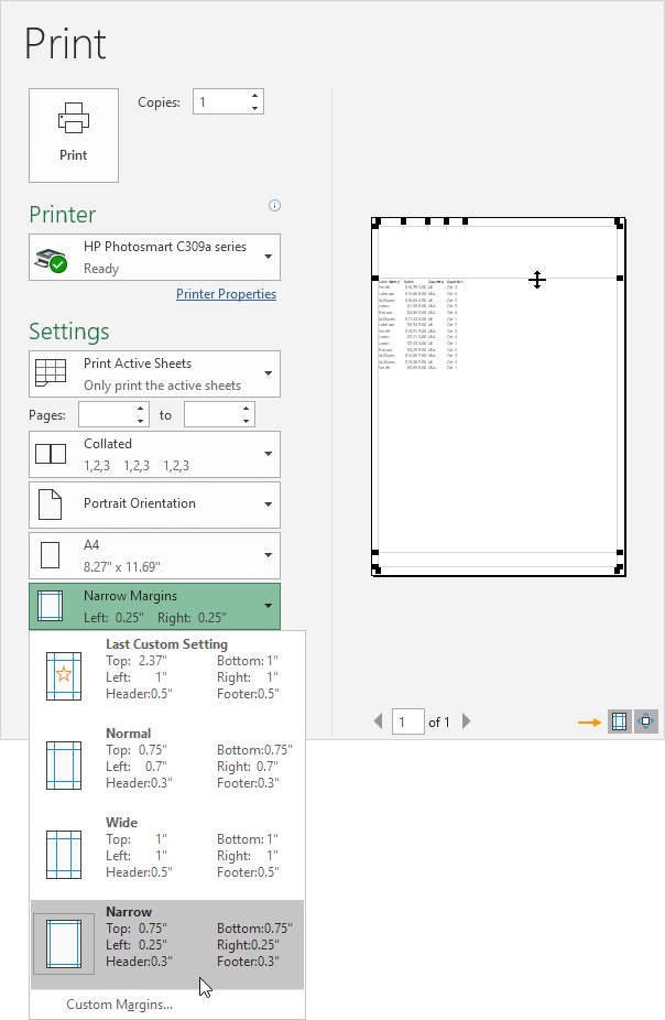 Page Margin In Excel Files