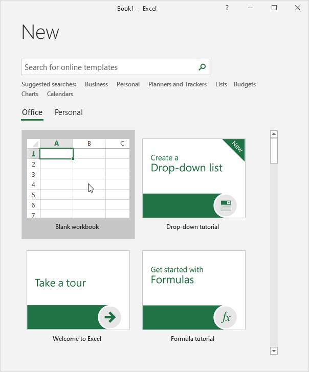 Create Workbook In Excel