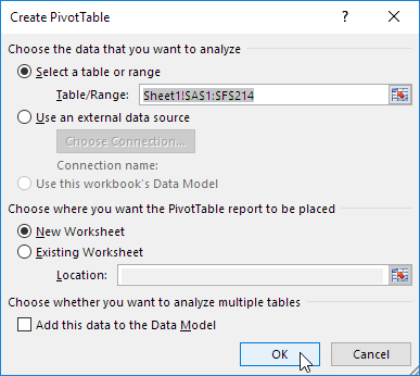 Create Pivottable Dialog Box