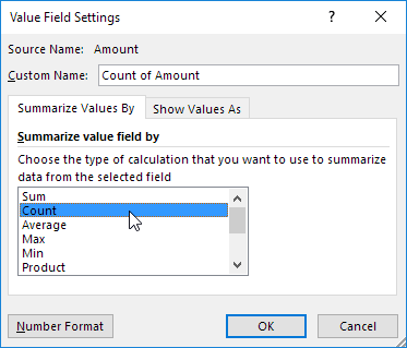 Summarize Value Field By