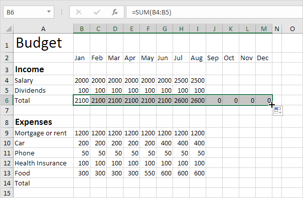 samples of budget spreadsheets