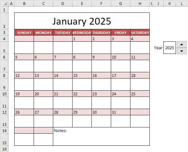 Calendar Template in Excel - Easy Excel Tutorial