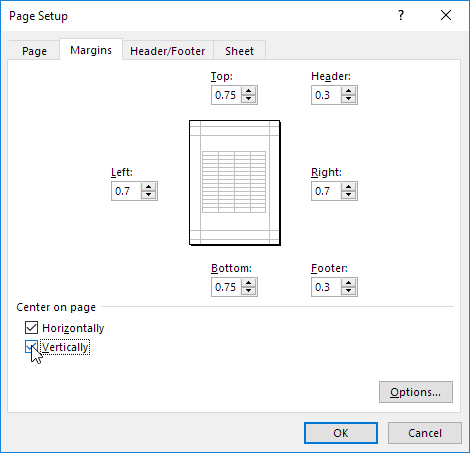 center on page in excel easy excel tutorial