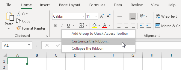 Customize the Ribbon in Excel