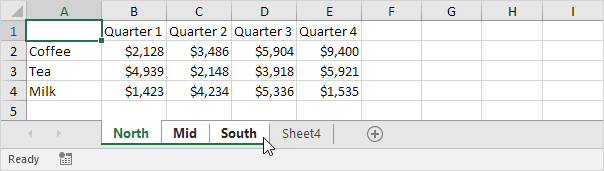 Group Worksheets in Excel