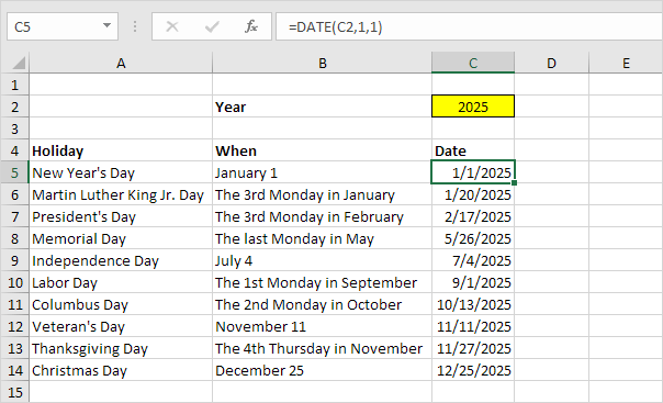 Holidays In Excel Easy Excel Tutorial
