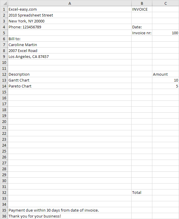 Invoice Template in Excel - Easy Excel Tutorial