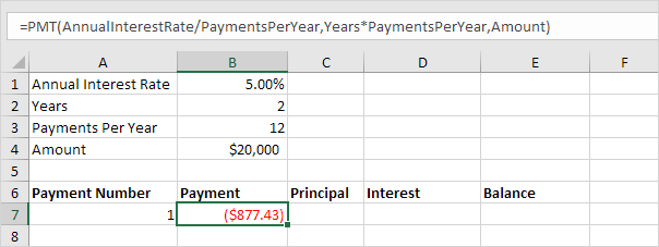 Use The PPMT Function To Calculate The Principal Part Of The Payment. The  Second Argument Specifies The Payment Number.