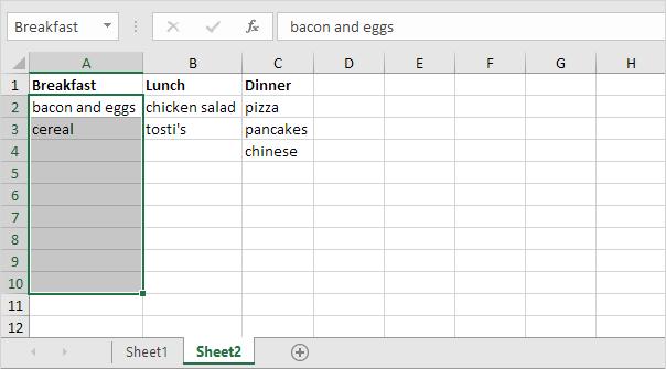 meal planner excel