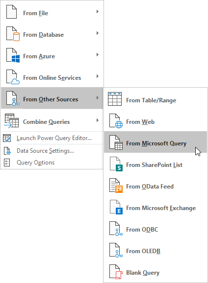 From Microsoft Query