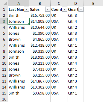 Number and Text Filters in Excel - Easy Excel Tutorial