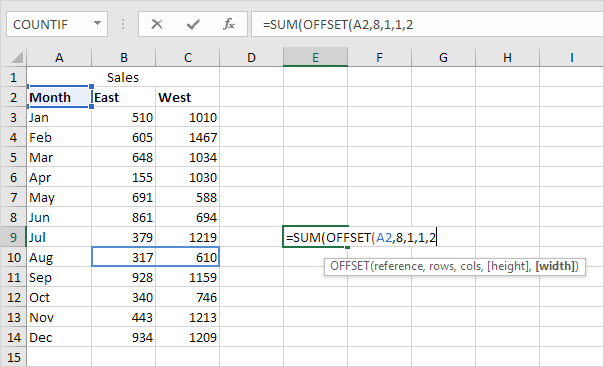 OFFSET function in Excel - Easy Excel Tutorial
