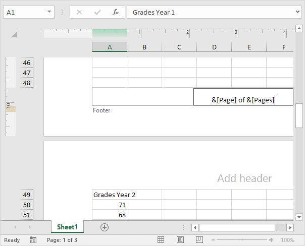 how to add page number with header