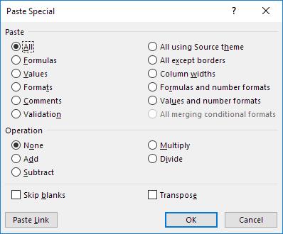 Paste Special Dialog Box