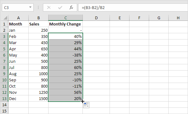 How do i create a percentage formula in excel