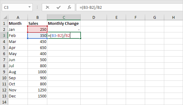 percent change formula in excel easy excel tutorial