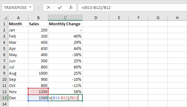 Percent Change Formula in Excel - Easy Excel Tutorial