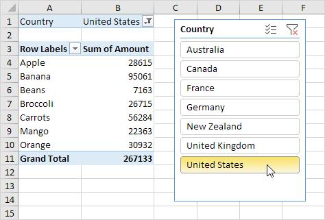 Slicer in Excel