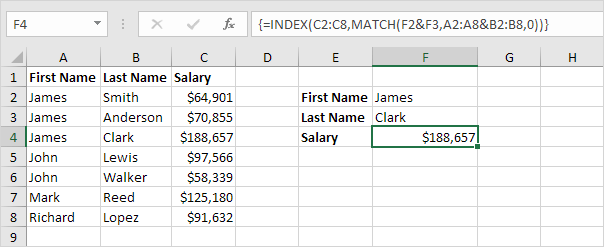 Index Function in Excel