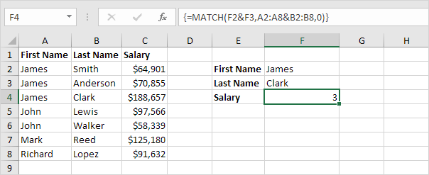 learn excel analysis lecture match formula