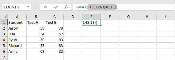 Array Constant in excel