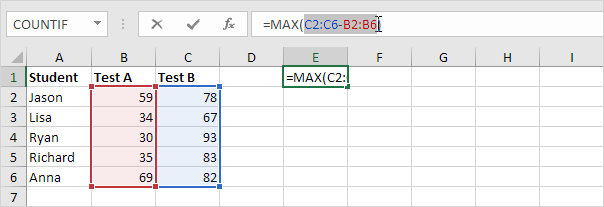 Select References in excel