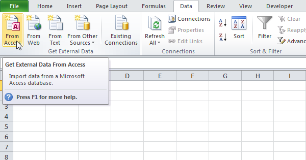 import access data into excel