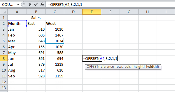 offset function in excel easy excel tutorial