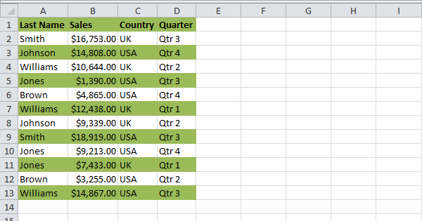 excel how to make cells alternating colors