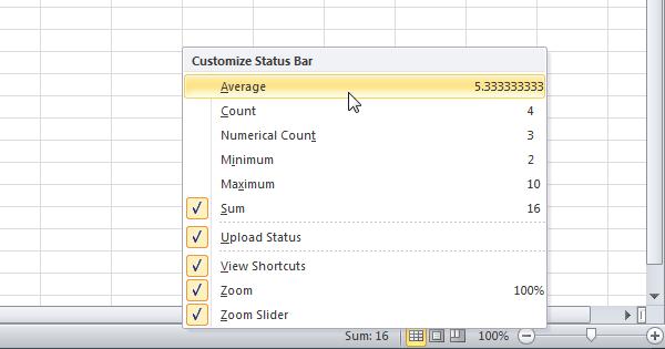 status bar excel 2016 download