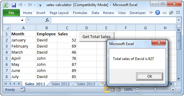 sales calculator in excel vba