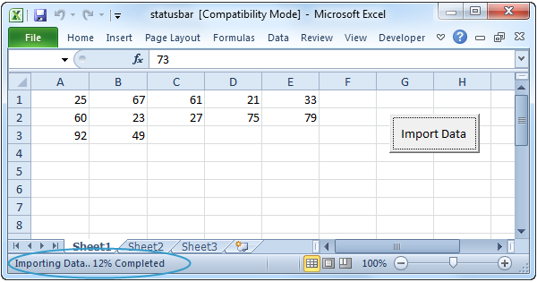Statusbar on Number Line 1 20