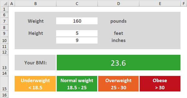 BMI calculator in Excel - Easy Excel Tutorial