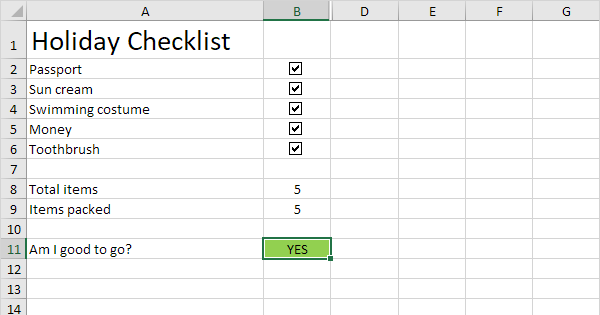 checklist in excel easy excel tutorial