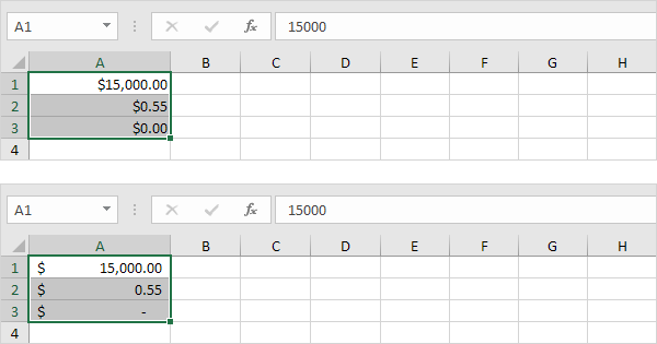 currency vs accounting format in excel