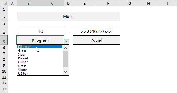 Kg To Lbs In Excel Easy Excel Converter