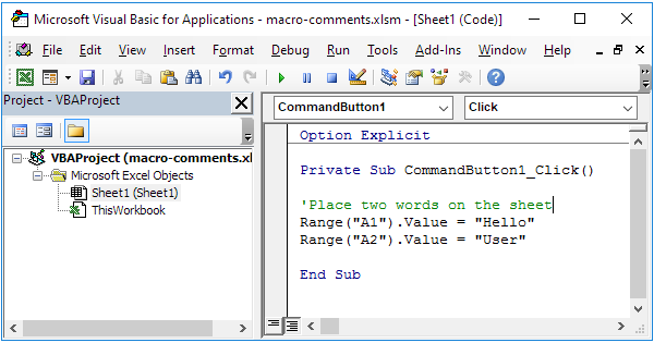 how to write comments in vb code