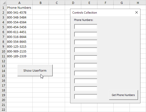 Controls Collection in Excel VBA