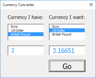 Currency Converter Result