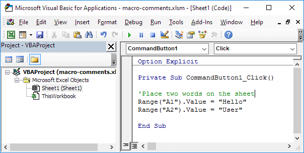 Excel Macro Comments - EASY Excel VBA