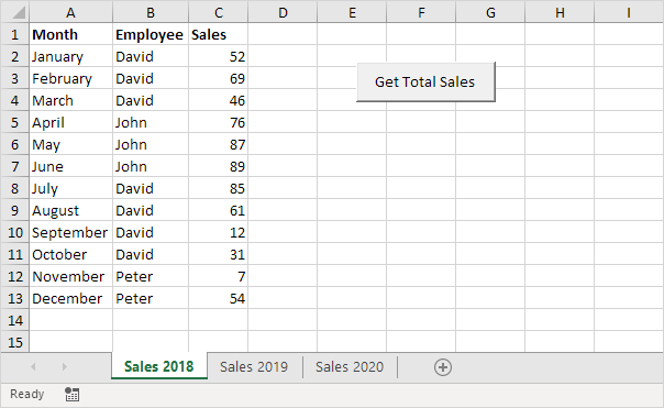 how to make excel add totals from different codes