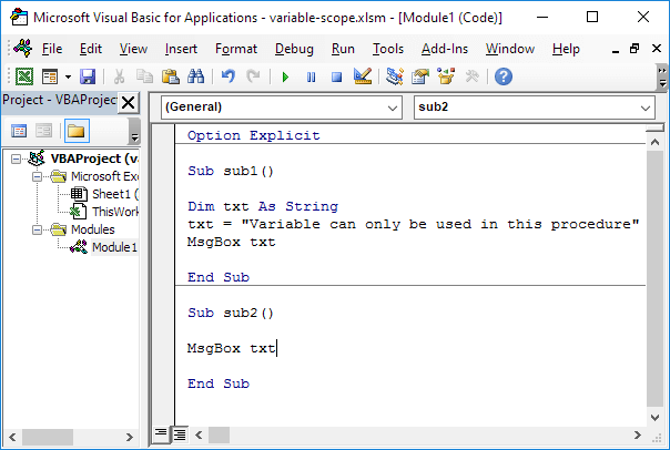 Variable Scope in Excel VBA - Easy Excel Macros